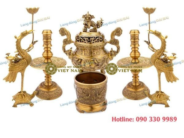 Bộ Đồ Thờ Cúng Đồng Vàng Đậm 6 Món