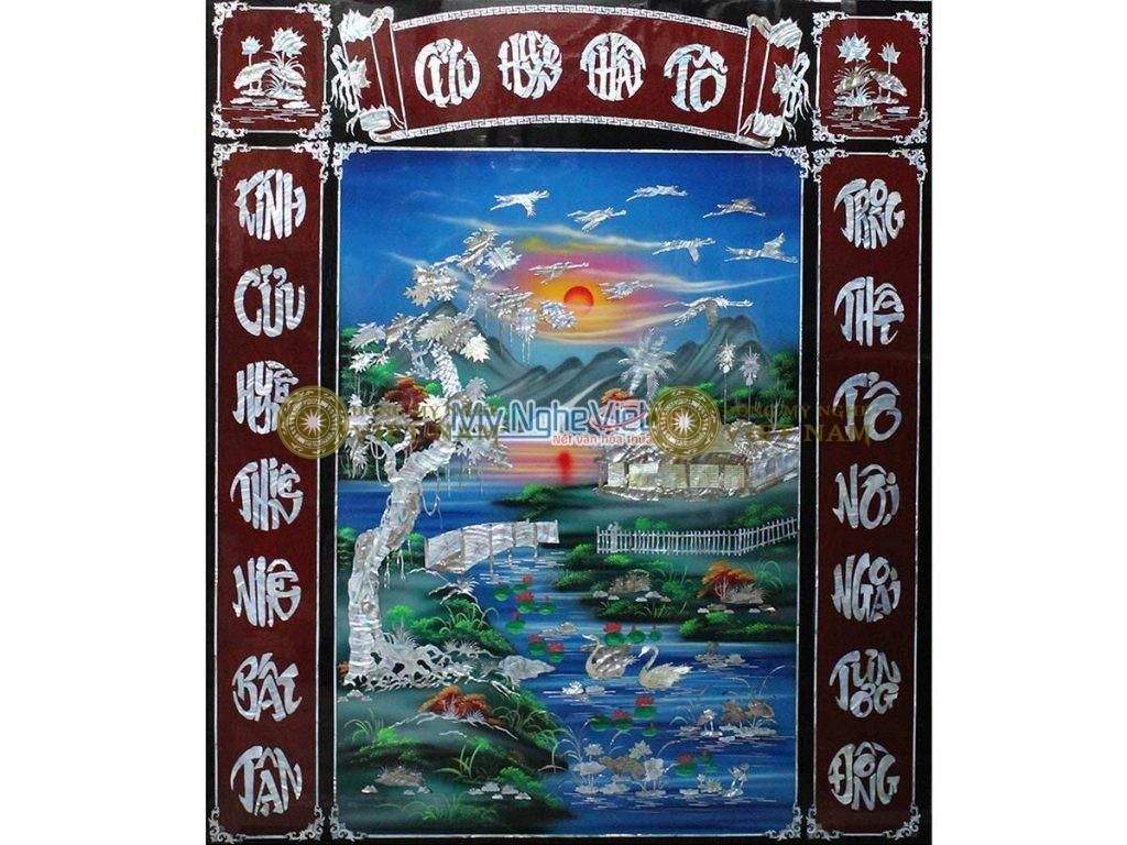Tranh Liển Thờ Cửu Huyền Thất Tổ nền xanh SMA198-1214-2